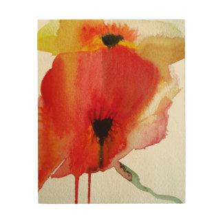 Red Poppies modern fluid flower art Wood Print