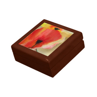 Red Poppies modern watercolour floral art Jewelry Boxes