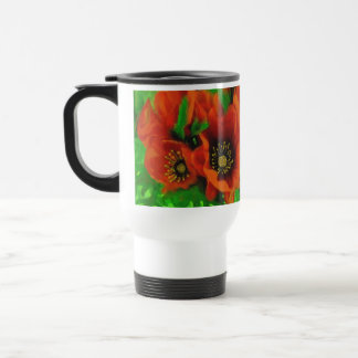 Red Poppies 15 Oz Stainless Steel Travel Mug