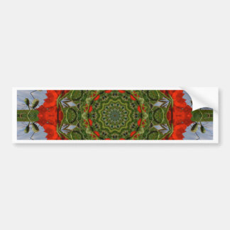 Red Poppies Nature, Flower-Mandala Bumper Sticker