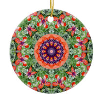 Red Poppies Nature, Flower-Mandala Ceramic Ornament