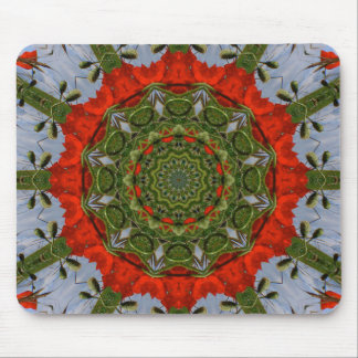 Red Poppies Nature, Flower-Mandala Mouse Pad