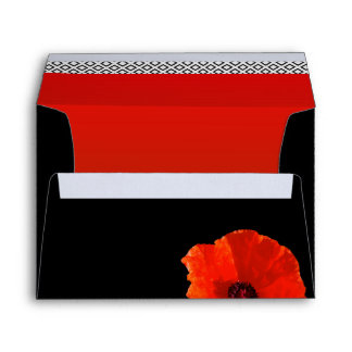 Red Poppies on Black Return Address Template Envelope