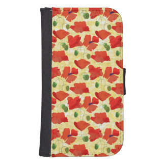 Red Poppies on Cornfield Yellow Wallet Case Phone Wallet