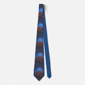 Red Poppies on Deep Blue, Original Floral Art Tie