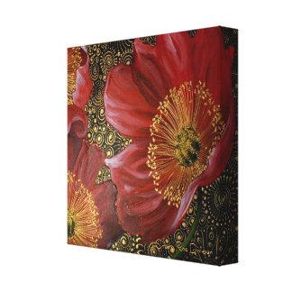 Red Poppies on Gold Spirals Canvas Print