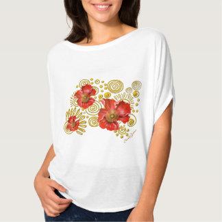 Red Poppies on Gold Spirals T-Shirt