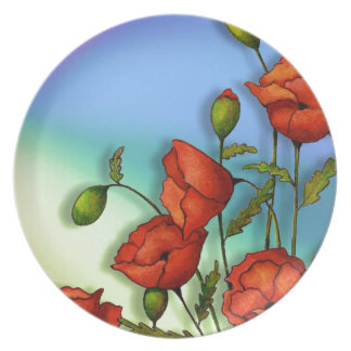 Red Poppies on Multi-Color Background: Art Dinner Plate