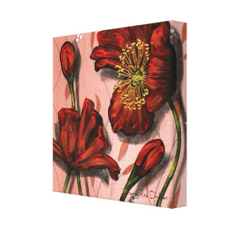 Red Poppies on Pink Wallpaper Canvas Print
