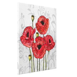 Red Poppies on Whimsical Gray Floral Canvas Print
