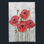 """Red Poppies on Whimsical Gray Floral Hand Towel<br><div class=""""desc"""">A stunning vintage style floral design featuring four red poppy flowers in bloom on a sweet and whimsical gray subtle floral pattern background. Ideal for the woman who loves poppies and all things floral. Other colors available and we accept custom requests for different color combinations. Contact us via our store...</div>"""