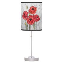 Red Poppies on Whimsical Gray Floral Table Lamp