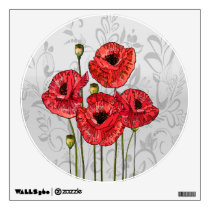 Red Poppies on Whimsical Gray Floral Wall Sticker