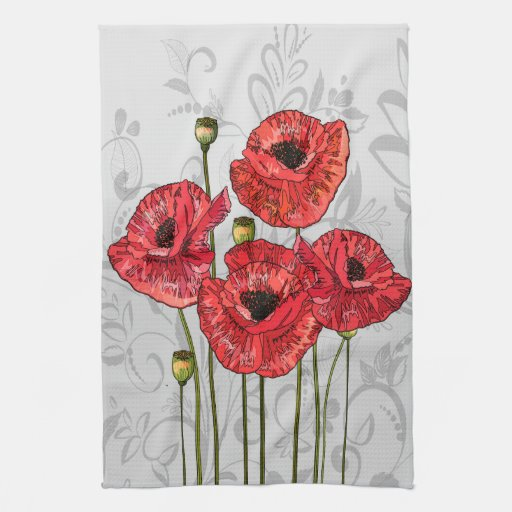 Red Kitchen Hand Towels: Red Poppies On Whimsical Gray Floral Hand Towels