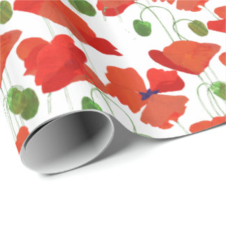Red Poppies on White Background to Customize Wrapping Paper