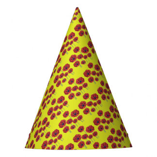 Red Poppies On Yellow Party Hat