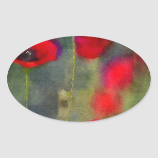 Red Poppies Oval Sticker