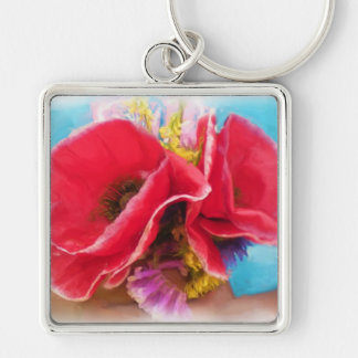 Red Poppies Painting Keychain
