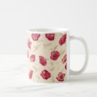 Red poppies pattern  mug