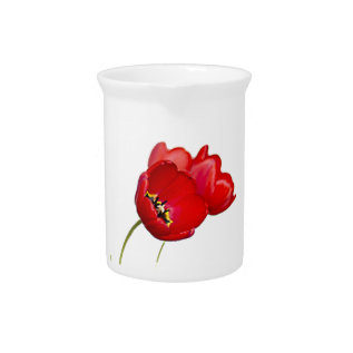 Red Poppies Poppy Flower Yellow Center Photograph Beverage Pitcher at Zazzle