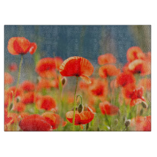 Red Poppies Poppy Flowers  Blue Sky Cutting Board