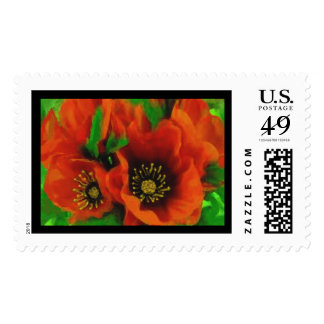 Red Poppies Postage Stamp