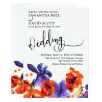 Red Poppies, Purple Iris Watercolor Modern Wedding Invitation