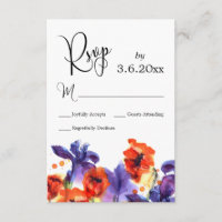 Red Poppies, Purple Iris Watercolor Wedding RSVP