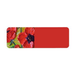 Red Poppies Return address Label