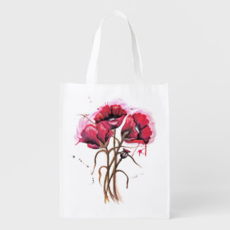 Red Poppies Reusable Bag Reusable Grocery Bags