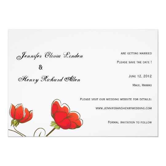 Red Poppies -save the date cards