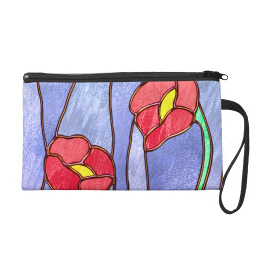 Red Poppies Stained Glass Look Wristlet Purses
