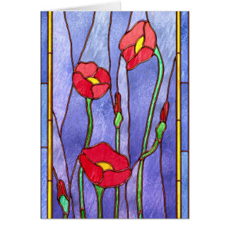 Red Poppies Stained Glass Look Card