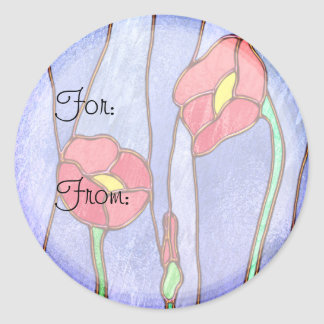 Red Poppies Stained Glass Look Classic Round Sticker