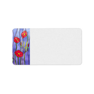 Red Poppies Stained Glass Look Label