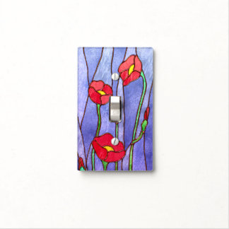 Red Poppies Stained Glass Look Light Switch Cover