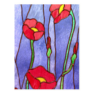 Red Poppies Stained Glass Look Postcard