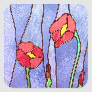 Red Poppies Stained Glass Look Square Sticker