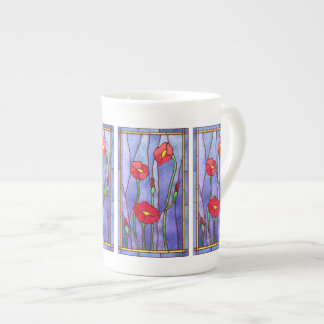 Red Poppies Stained Glass Look Tea Cup