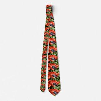 Red Poppies & Stamen Flowers Flora Art Gifts Neck Tie