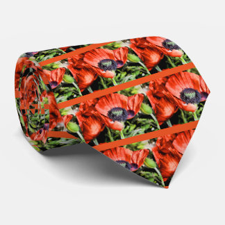Red Poppies & Stamen Flowers Flora Art Gifts Tie