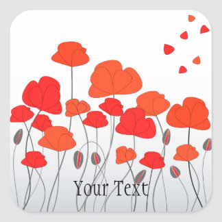 Red Poppies Stickers