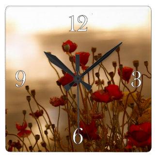 Red Poppies & Sunlight Flowers Flora Photo Clock