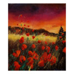 Red poppies sunset 76 print