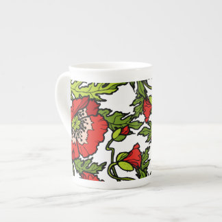 Red Poppies Tea Cup