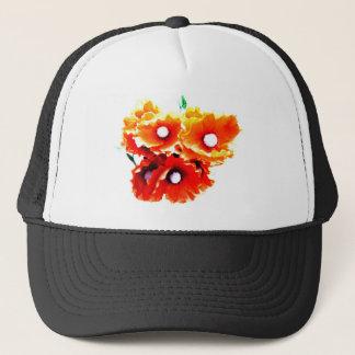 red poppies trucker hat