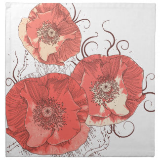 Red Poppies Ver. B Cloth Napkins