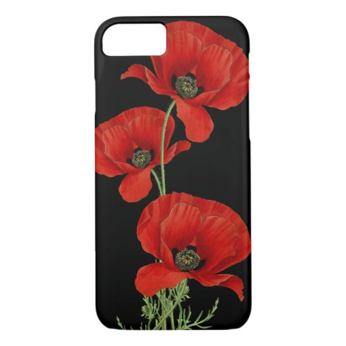 Red Poppies Vintage Botanical Phone Case