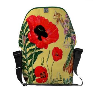 Red Poppies Vintage Botanical Floral Messenger Bag