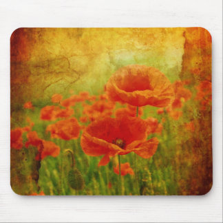 Red poppies vintage mouse pad